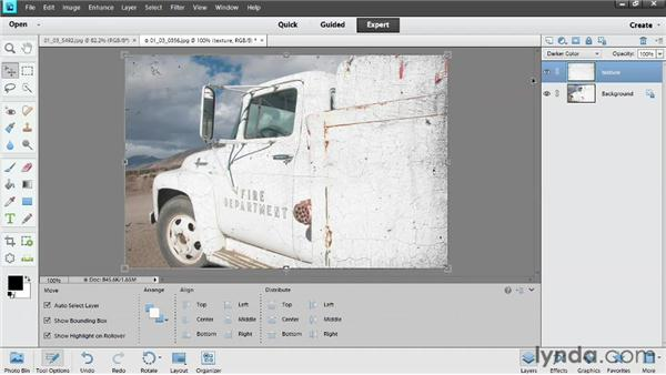 Adding texture with blend modes: Photoshop Elements 11 Essentials: 04 Creative Effects and Projects