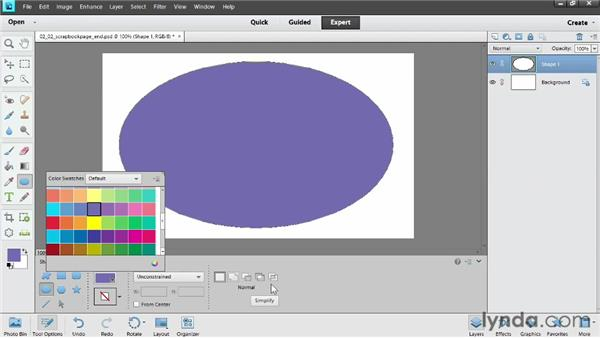Adding vector shapes: Photoshop Elements 11 Essentials: 04 Creative Effects and Projects