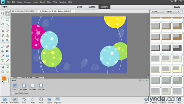 Using built-in graphics: Photoshop Elements 11 Essentials: 04 Creative Effects and Projects