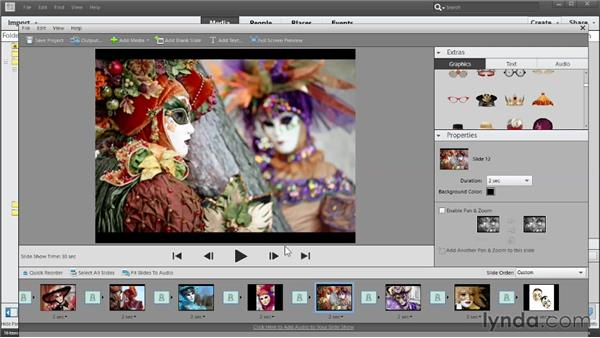 Building a slideshow in the Slide Show Editor: Photoshop Elements 11 Essentials: 04 Creative Effects and Projects