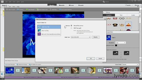 Saving and outputting a slideshow: Photoshop Elements 11 Essentials: 04 Creative Effects and Projects