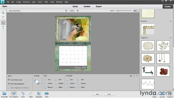 Customizing the look of a calendar: Photoshop Elements 11 Essentials: 04 Creative Effects and Projects