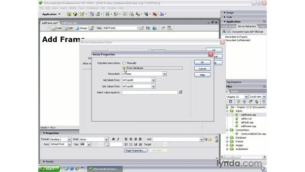 building an add new record page: Dreamweaver MX 2004 Beyond the Basics