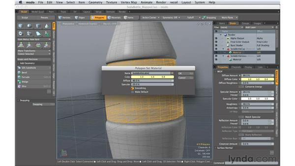 Applying surface presets: Creating Product Shots in MODO