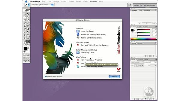 using the welcome screen: Photoshop CS Essential Training