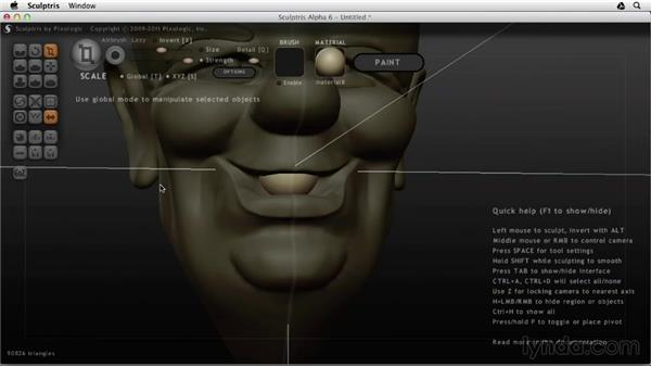 Adding eyeballs, eyebrows, and teeth: Sculptris Essential Training