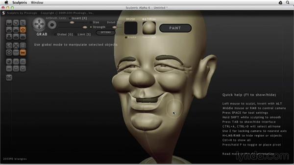 Finishing the symmetrical details: Sculptris Essential Training