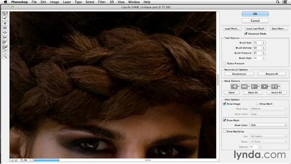 Using Liquify to shape the hair: Photoshop Retouching Techniques: Fashion Editorial