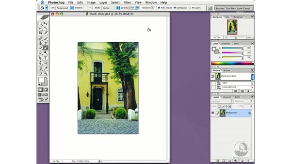 changing the matte: Photoshop CS Essential Training