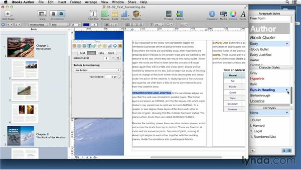 Understanding text formatting options: iBooks Author for Teachers: Fundamentals