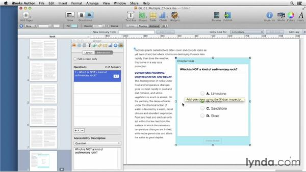 Creating multiple-choice review questions: iBooks Author for Teachers: Fundamentals
