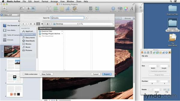 Archiving project assets: iBooks Author for Teachers: Fundamentals