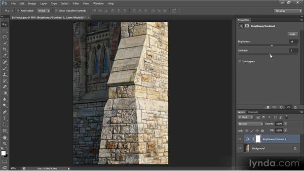 Improving tonality with Brightness/Contrast: Photoshop CS6 Image Optimization Workshop