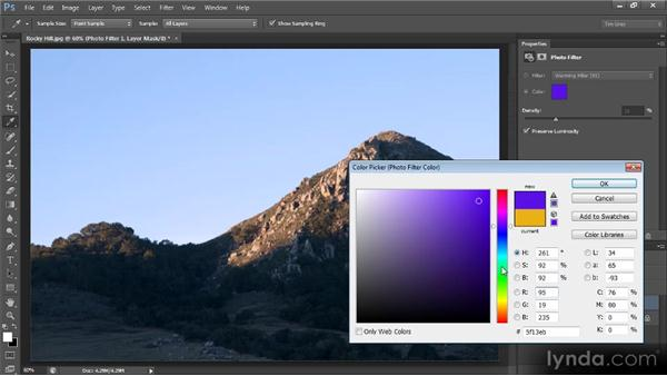 Adding a tint with the Photo Filter: Photoshop CS6 Image Optimization Workshop