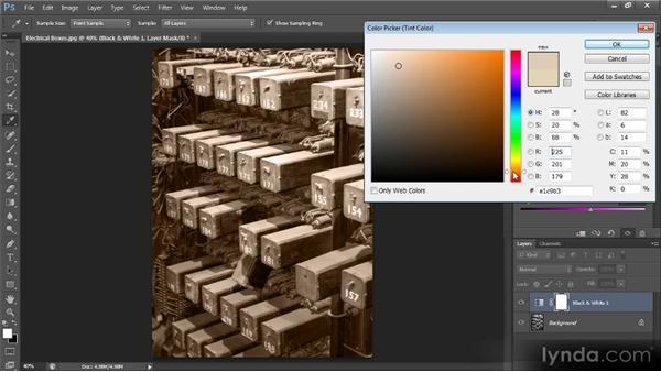 Adding a tint to a black-and-white image: Photoshop CS6 Image Optimization Workshop
