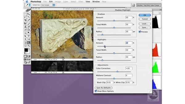 adjusting shadows and highlights: Photoshop CS Essential Training