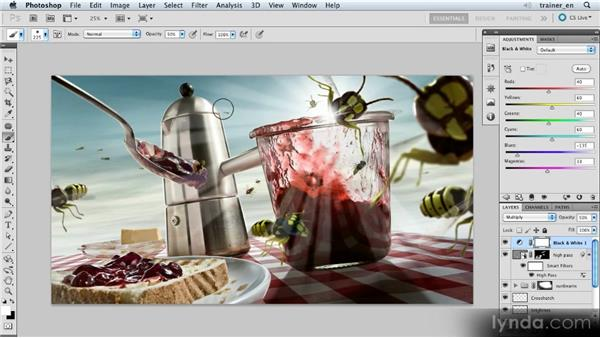 Desaturating with a Black and White adjustment layer: Photoshop Artist in Action: Uli Staiger's Wasp Attack