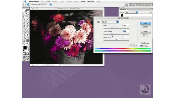 hue and saturation: Photoshop CS Essential Training