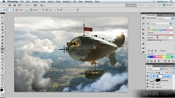 Adjusting the clouds' colors: Photoshop Artist in Action: Uli Staiger's Airship