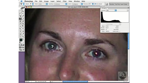 removing red eye: Photoshop CS Essential Training