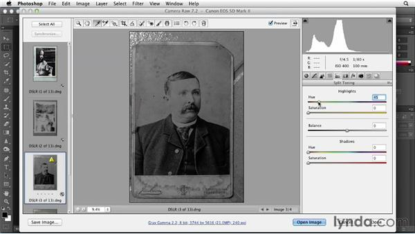 Using Camera Raw for initial tonal adjustments: Photoshop Insider Training: Photo Restoration