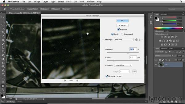 Sharpening selectively during restoration: Photoshop Insider Training: Photo Restoration