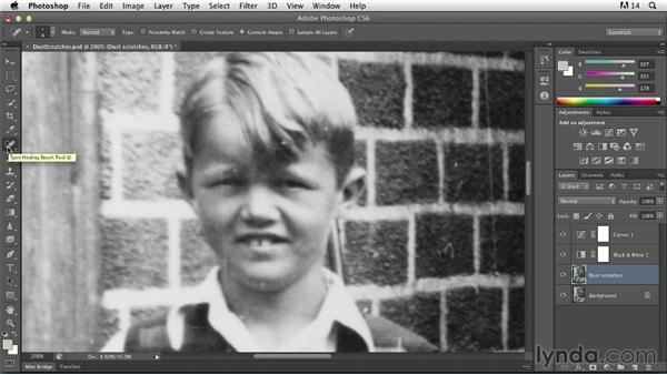 Removing dust and scratches: Photoshop Insider Training: Photo Restoration