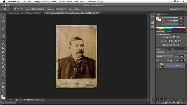 Repairing missing pieces or torn corners: Photoshop Insider Training: Photo Restoration