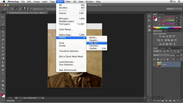 Using Content-Aware Scale to adjust image proportions: Photoshop Insider Training: Photo Restoration