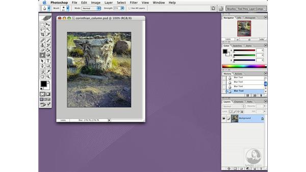 blur tool: Photoshop CS Essential Training