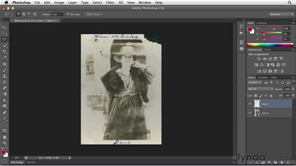 Re-creating missing pieces by mirroring: Photoshop Insider Training: Photo Restoration