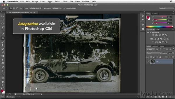 Borrowing content from within the same photo: Photoshop Insider Training: Photo Restoration