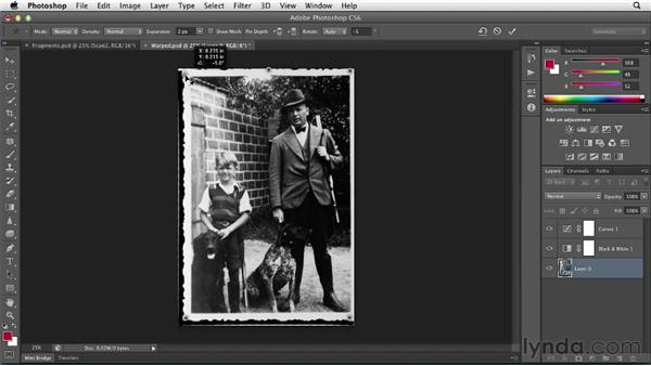 Dealing with warping or missing fragments: Photoshop Insider Training: Photo Restoration