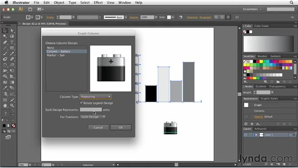 Applying a chart design to a column: Creating Infographics with Illustrator