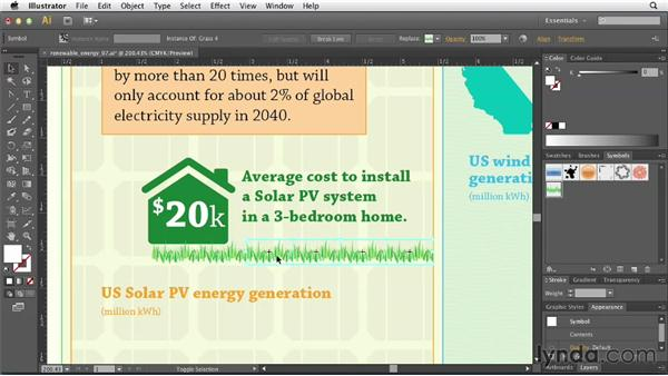 Adding graphical data points for wind and solar: Creating Infographics with Illustrator