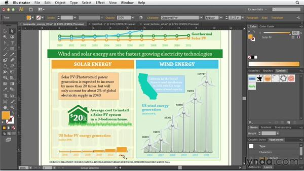 Adding a matching-scale chart for solar power: Creating Infographics with Illustrator (2013)