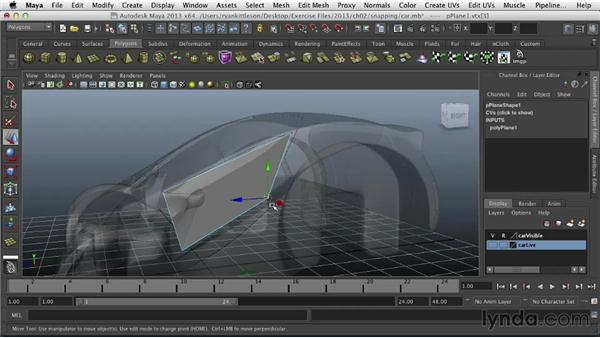 Snapping polygon vertices to the concept car: Modeling Vehicles in Maya