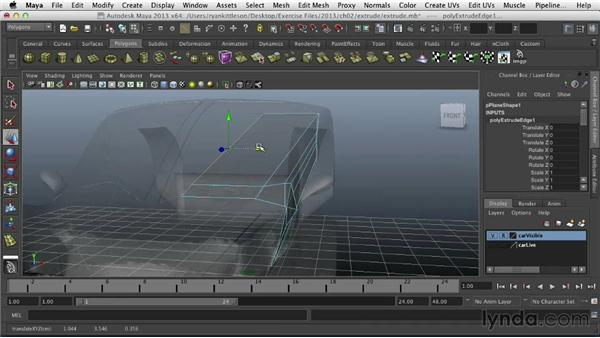 Extruding polygons: Modeling Vehicles in Maya