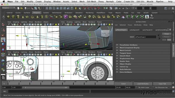 Finishing the front-end blockout: Modeling Vehicles in Maya