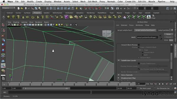 Cutting out the hood, door, and trunk: Modeling Vehicles in Maya