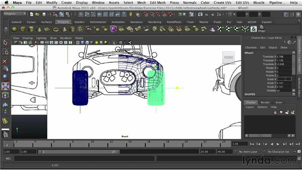 Referencing the wheel in the car scene: Modeling Vehicles in Maya