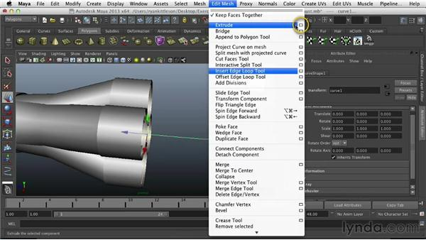 Making the curved exhaust pipes: Modeling Vehicles in Maya