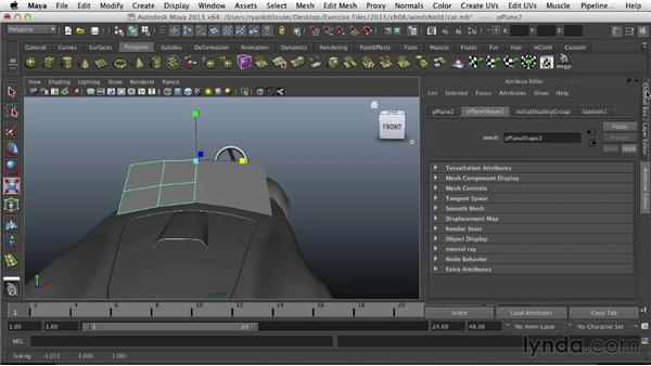 Modeling the windshield: Modeling Vehicles in Maya