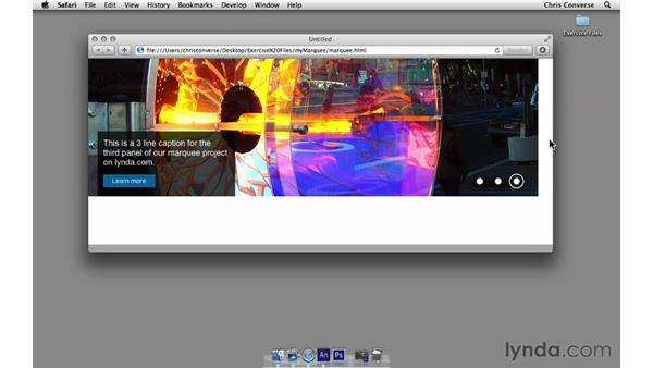 Previewing the final project: Create a Homepage Marquee with Edge Animate