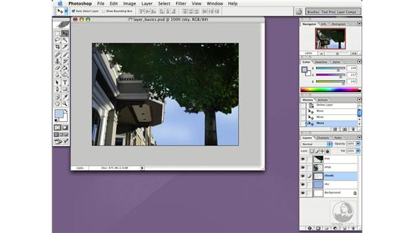 move and link layers: Photoshop CS Essential Training