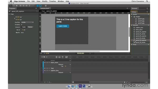 Duplicating symbols for the third caption: Create a Homepage Marquee with Edge Animate