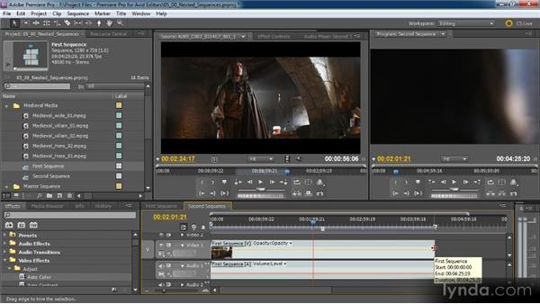 Nesting sequences: Premiere Pro CS5 for Avid Editors