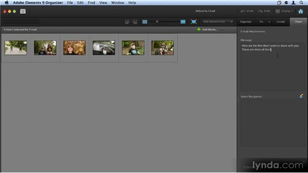 Sharing your images via email: Up and Running with Photoshop Elements 9