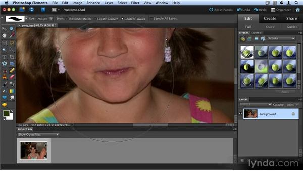 Fixing red-eye and retouching skin: Up and Running with Photoshop Elements 9