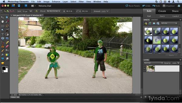 Recomposing a photo: Up and Running with Photoshop Elements 9